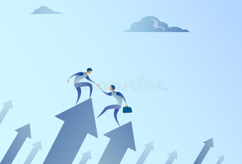 Δύο επιχειρηματίες στέκονται στο οικονομικό βέλος επάνω στην επιτυχή αύξηση ανάπτυξης επιχειρησιακής ομάδας χεριών εκμετάλλευσης ελεύθερη απεικόνιση δικαιώματος