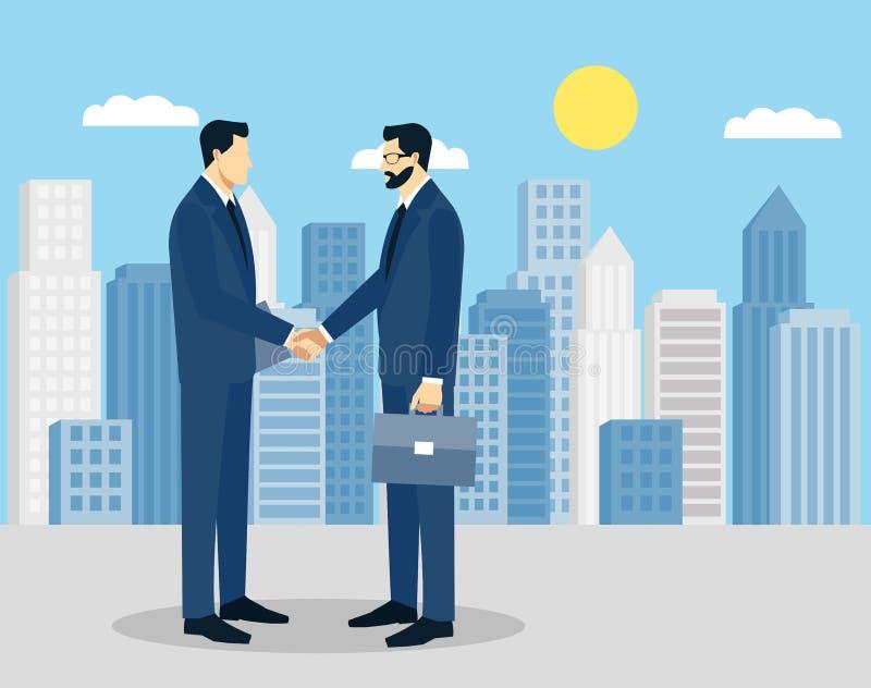 Δύο επιχειρηματίες στα κοστούμια που τινάζουν τα χέρια για να υπογράψει μια σύμβαση Η έννοια μιας επιτυχούς συναλλαγής διανυσματική απεικόνιση