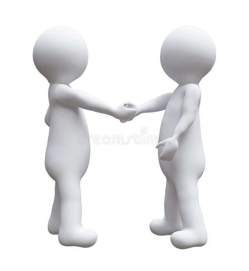 Δύο επιχειρησιακά άτομα που τινάζουν τους μικρούς ανθρώπους δ απεικόνισης χεριών απομόνωσαν το άσπρο υπόβαθρο απεικόνιση αποθεμάτων