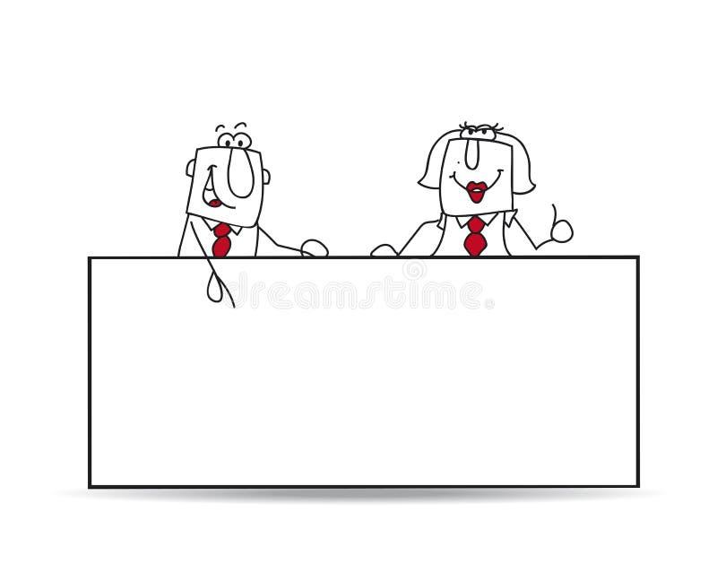 Δύο επιχειρησιακοί συνάδελφοι με μια πινακίδα ελεύθερη απεικόνιση δικαιώματος