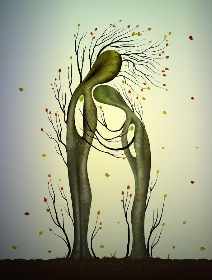 Δύο ερωτευμένα βλέμματα δέντρων όπως τον άνδρα και τη γυναίκα, αγκάλιασμα δέντρων, οικογενειακή έννοια, που συναντιούνται με ηλικ απεικόνιση αποθεμάτων