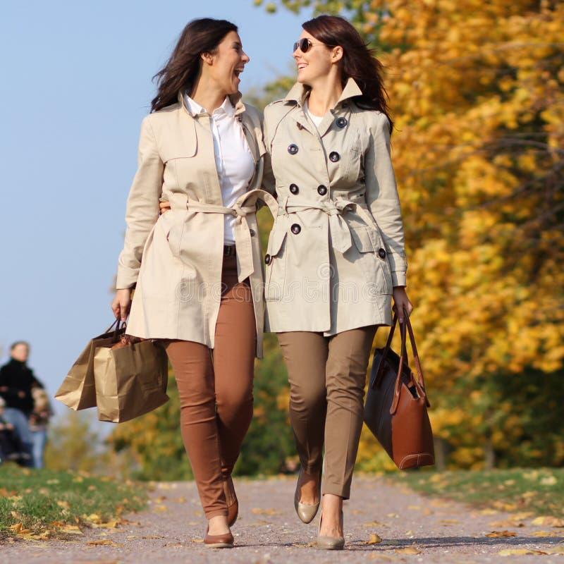 Δύο ευτυχή δίδυμα κοριτσιών, στο πάρκο φθινοπώρου στοκ φωτογραφία με δικαίωμα ελεύθερης χρήσης