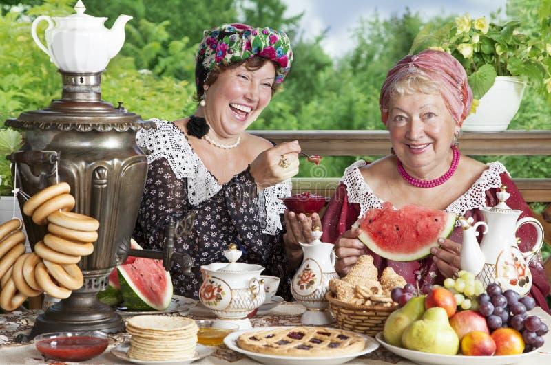 Δύο εύθυμες γυναίκες που πίνουν το τσάι υπαίθρια στοκ εικόνες με δικαίωμα ελεύθερης χρήσης