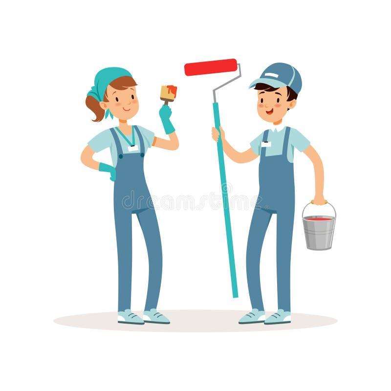 Δύο εύθυμοι εθελοντές με τον κάδο, τη βούρτσα και τον κύλινδρο χρωμάτων στα χέρια Κοινωνικοί λειτουργοί Παιδιά στις μπλε λειτουργ απεικόνιση αποθεμάτων