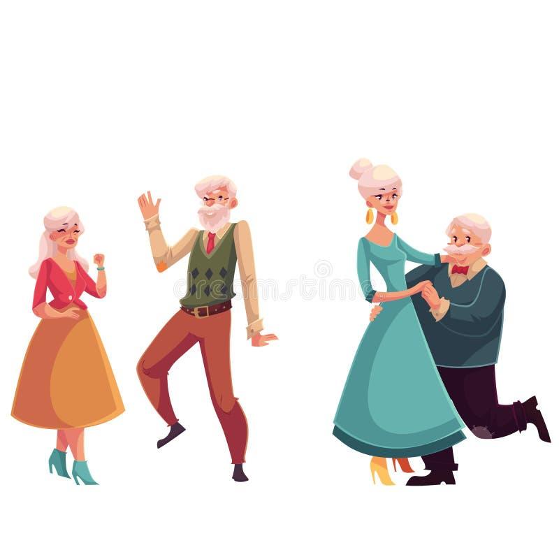 Δύο ζεύγη των παλαιών, ανώτερων ανθρώπων που χορεύουν από κοινού διανυσματική απεικόνιση