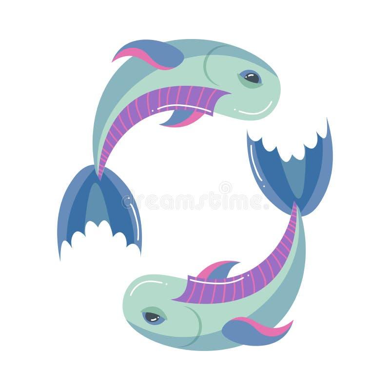 Δύο ζωηρόχρωμα ψάρια, pisces zodiac σημάδι, σύγχρονο σημάδι απεικόνιση αποθεμάτων