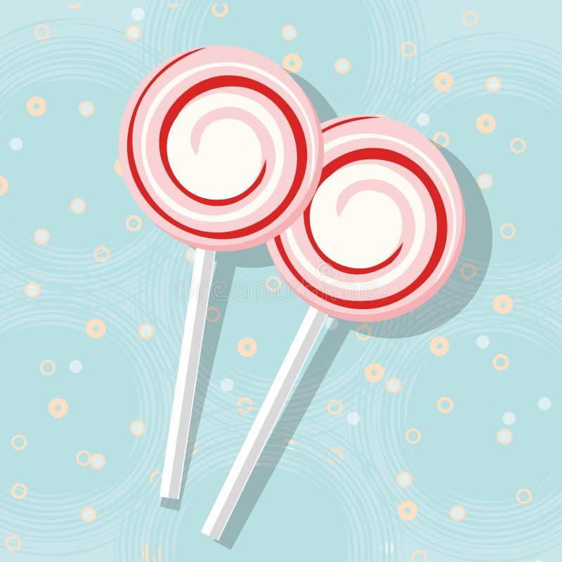Δύο ζωηρόχρωμα lollipops στο μπλε διανυσματική απεικόνιση