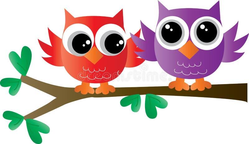 Δύο ζωηρόχρωμες γλυκές κουκουβάγιες σε ένα δέντρο διανυσματική απεικόνιση