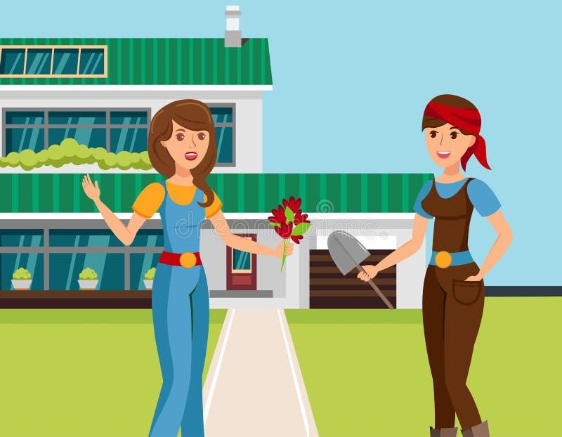 Δύο θηλυκοί γείτονες που μιλούν τη διανυσματική απεικόνιση ελεύθερη απεικόνιση δικαιώματος