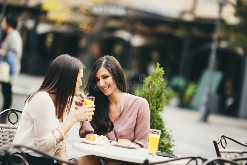 Δύο θηλυκοί φίλοι που κάθονται έξω σε έναν καφέ στοκ φωτογραφίες με δικαίωμα ελεύθερης χρήσης