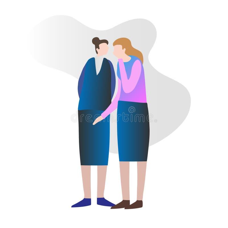 Δύο θηλυκοί φίλοι που κουτσομπολεύουν και κρυφά που διαδίδουν τις ιδιωτικές ειδήσεις Ψιθύρισμα στο αυτί ελεύθερη απεικόνιση δικαιώματος