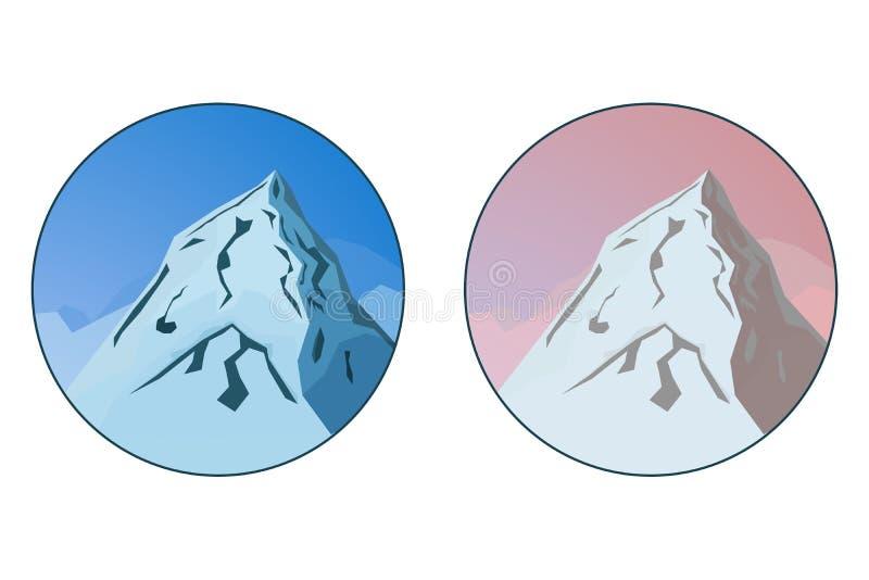 Δύο διακριτικά με το διανυσματικό τοπίο βουνών στο μπλε και τα χρώματα στοκ εικόνες