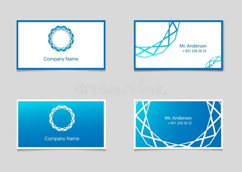 Δύο διανυσματικά πρότυπα επαγγελματικών καρτών με το μπλε λογότυπο κλίσης και επιχείρησης απεικόνιση αποθεμάτων
