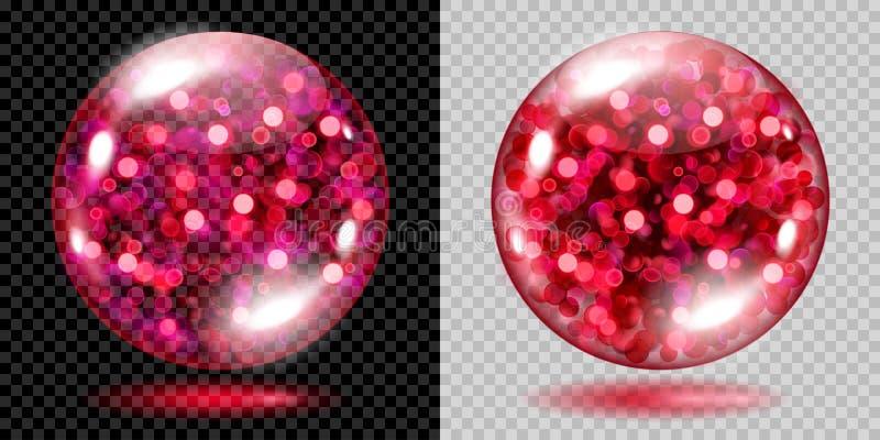 Δύο διαφανείς σφαίρες με τα κόκκινα σπινθηρίσματα διανυσματική απεικόνιση