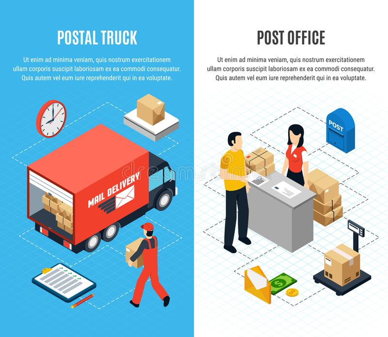 Δύο κάθετο σύνολο εμβλημάτων ταχυδρομείου Isometric ελεύθερη απεικόνιση δικαιώματος