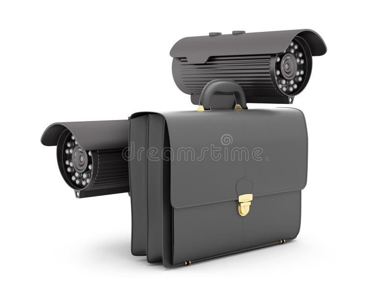 Δύο κάμερα ασφαλείας και επιχειρησιακός χαρτοφύλακας απεικόνιση αποθεμάτων