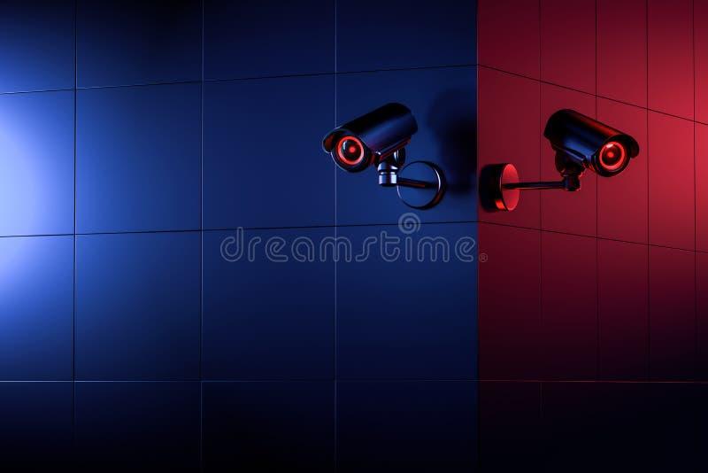 Δύο κάμερες CCTV ασφάλειας στη γωνία τοίχων  διάστημα αντιγράφων για το κείμενο συμπεριλαμβανόμενο Το αγαθό και η κακή πλευρά της ελεύθερη απεικόνιση δικαιώματος
