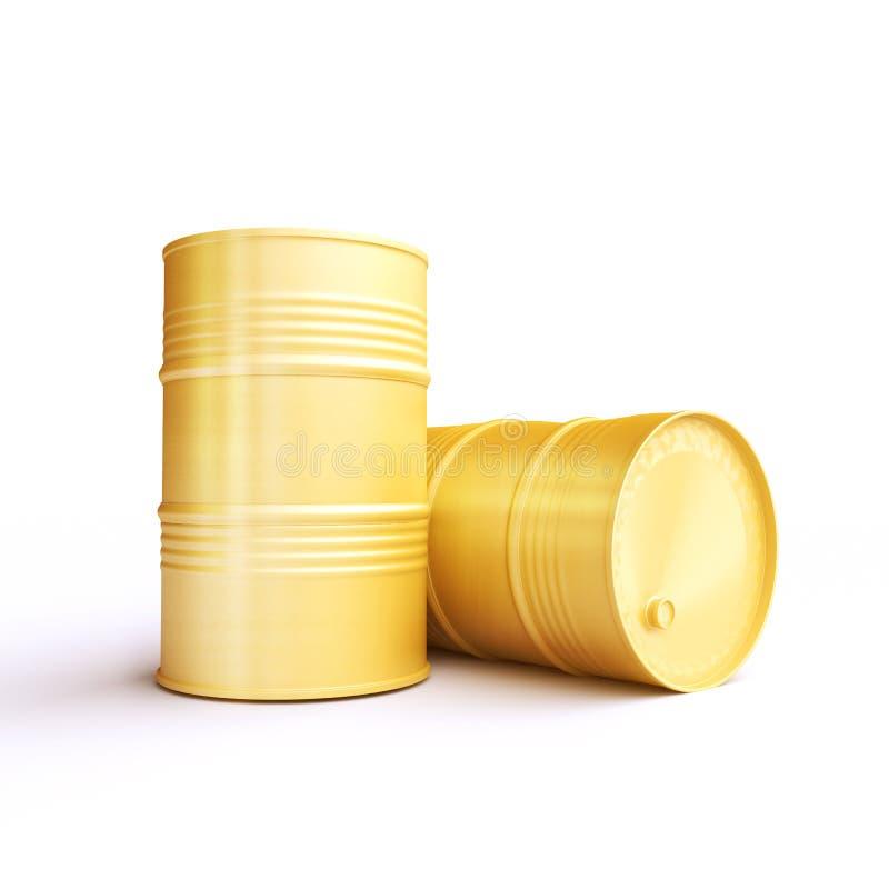 Δύο κίτρινα βαρέλια μετάλλων διανυσματική απεικόνιση