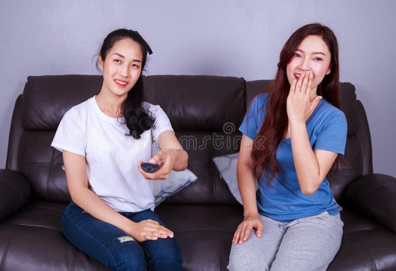 Δύο καλύτεροι φίλοι που προσέχουν τη TV με μακρινό στον καναπέ στο σπίτι στοκ εικόνες