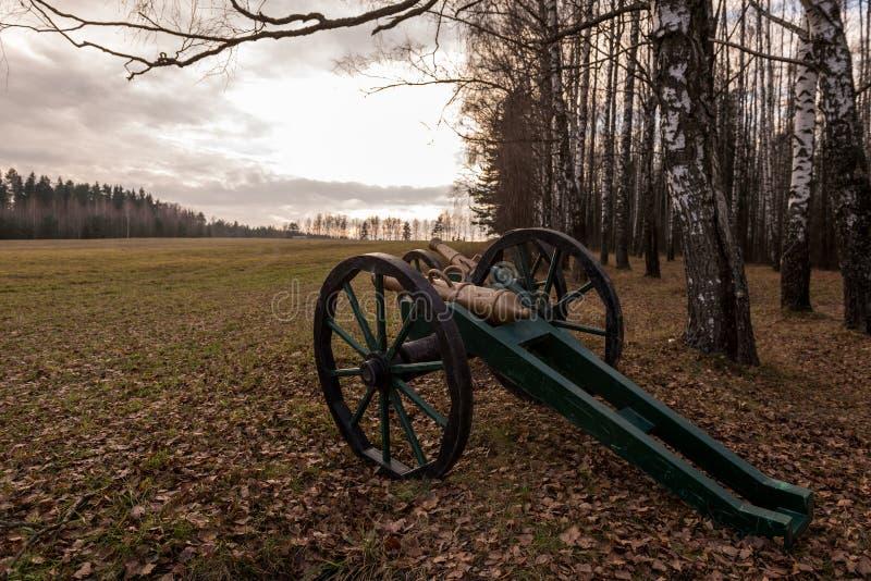 Δύο κανόνες στο πεδίο μάχη καλκανιών για την αναδημιουργία το 1812battle του Berezina στον ποταμό Berezina, Λευκορωσία στοκ εικόνες