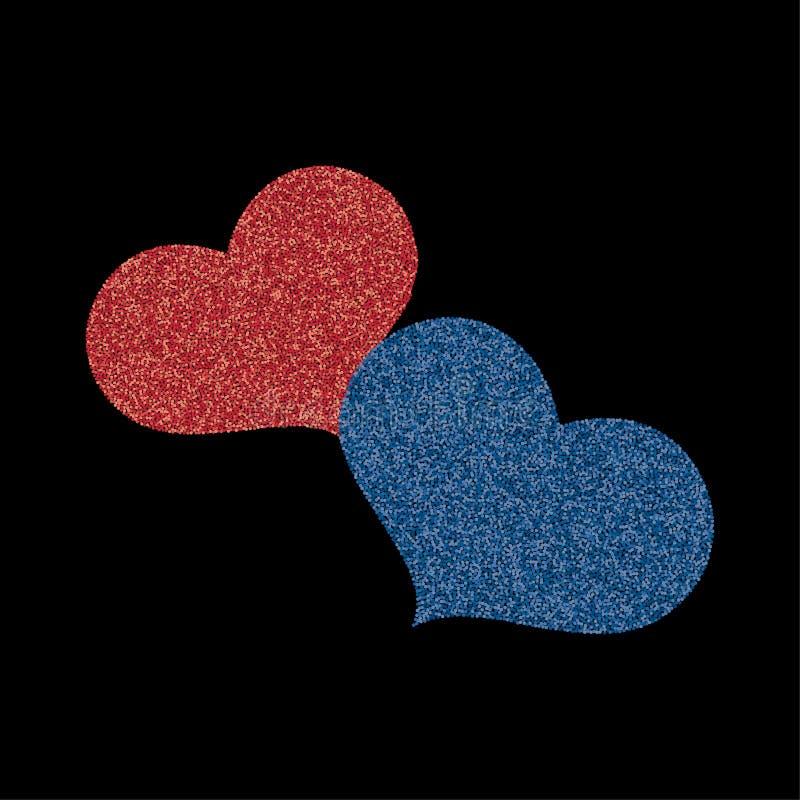 Δύο καρδιές μωσαϊκών διανυσματική απεικόνιση