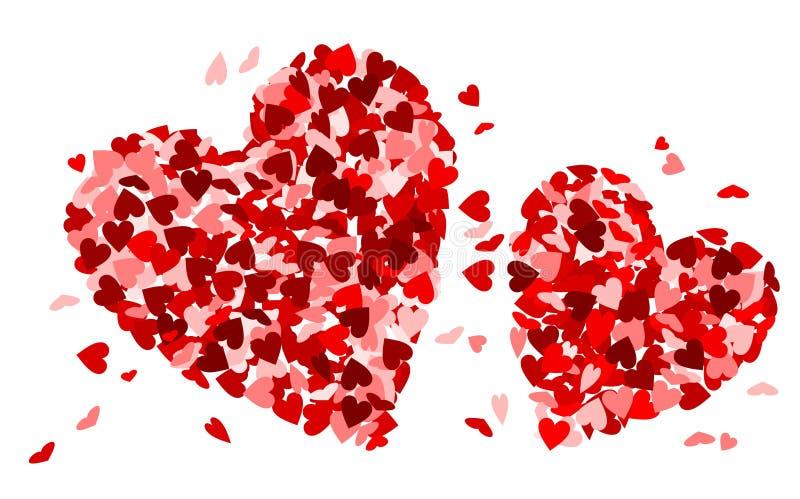 Δύο καρδιές φιαγμένες από μικρές κόκκινες καρδιές διανυσματική απεικόνιση