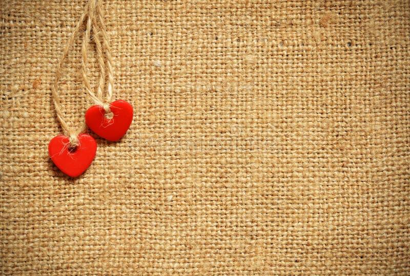 Δύο καρδιές στον καμβά στοκ εικόνες