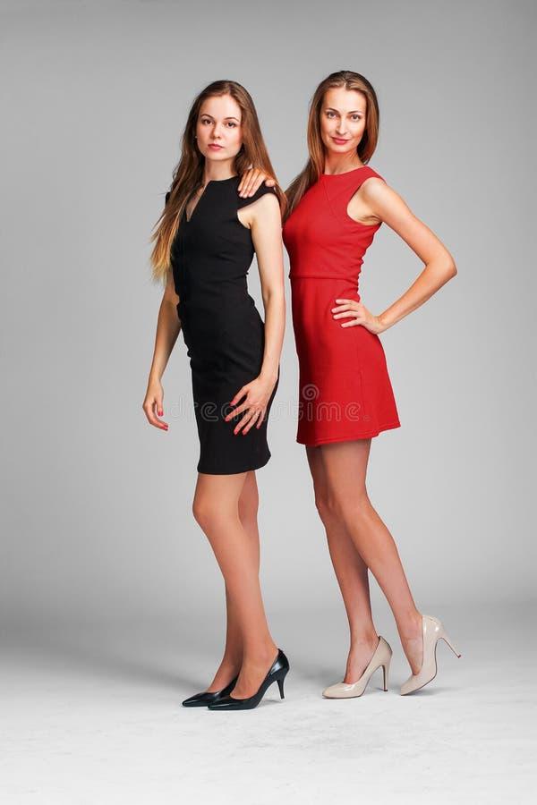 Δύο καυκάσια πρότυπα μόδας που θέτουν στο στούντιο στο γκρίζο backgroun στοκ φωτογραφία με δικαίωμα ελεύθερης χρήσης