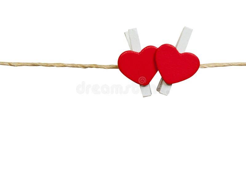 Δύο καλές κόκκινες καρδιές Στο παλαιό άσπρο υπόβαθρο στοκ εικόνες με δικαίωμα ελεύθερης χρήσης