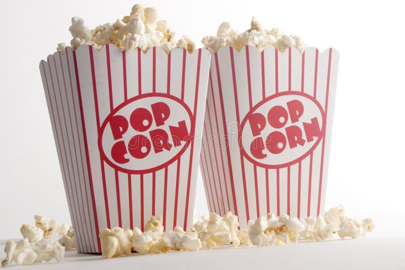 Δύο κιβώτια Popcorn στοκ εικόνες