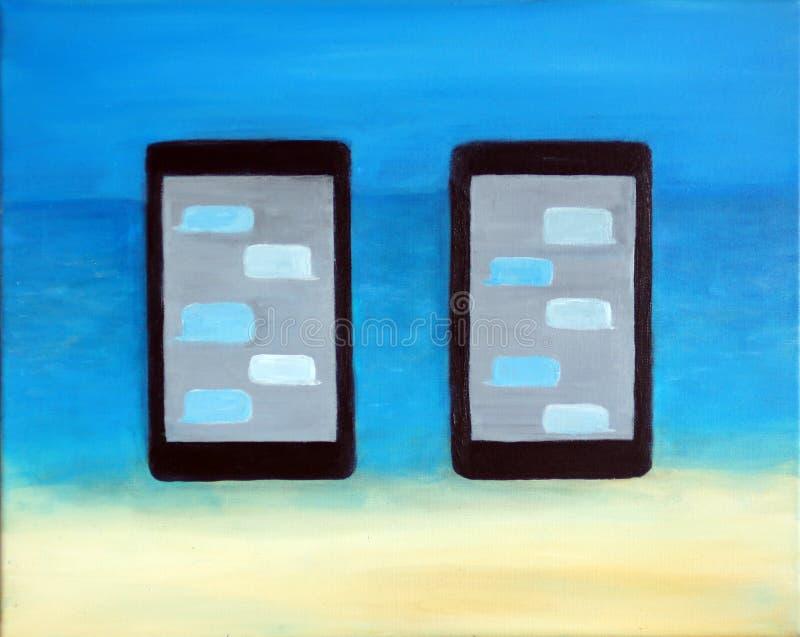 Δύο κινητά τηλέφωνα σε μια παραλία ελεύθερη απεικόνιση δικαιώματος