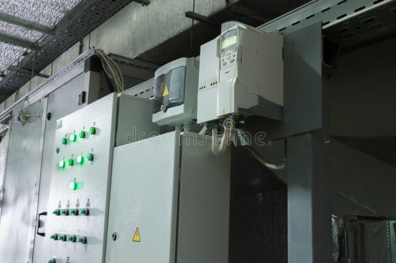 Δύο κλειστά γραφεία ελέγχου συστημάτων εξαερισμού στο βιομηχανικό δωμάτιο εξαερισμού στοκ εικόνες