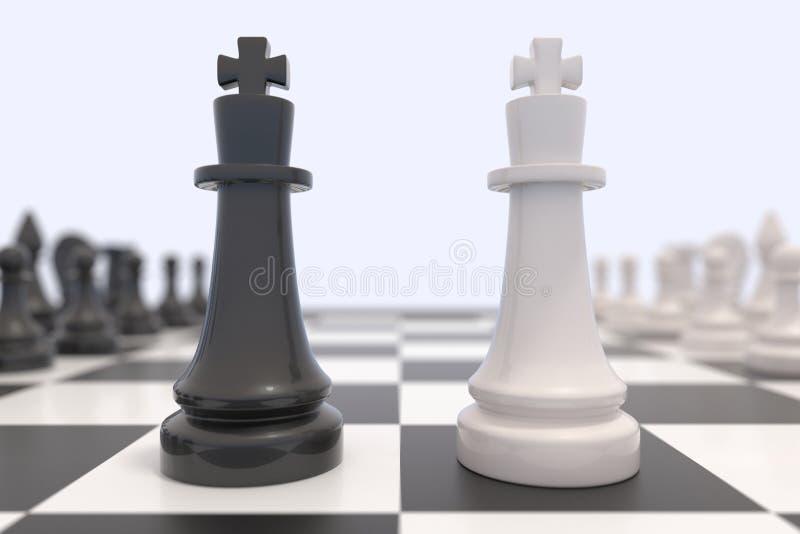 Δύο κομμάτια σκακιού σε μια σκακιέρα απεικόνιση αποθεμάτων