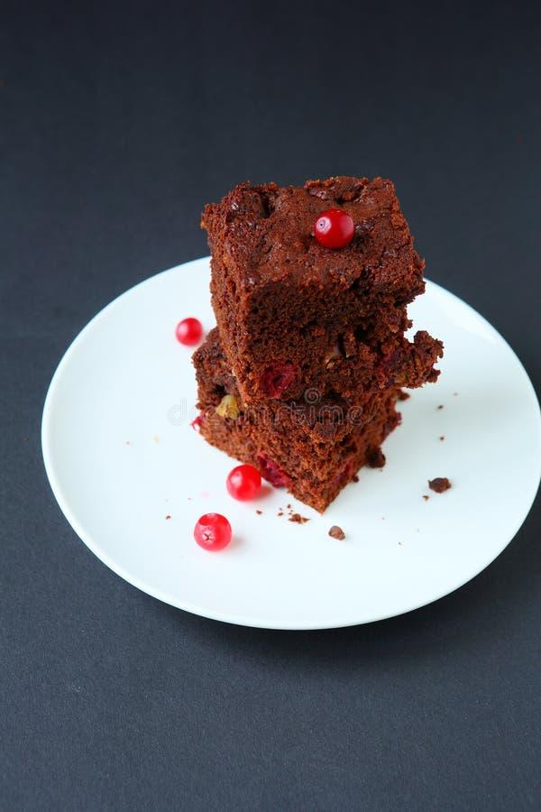 Δύο κομμάτια του κέικ σοκολάτας στοκ φωτογραφία