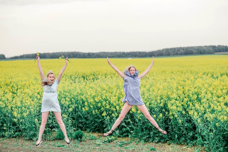 Δύο κορίτσια κάνουν ένα αστεροειδές άλμα σε έναν τομέα στοκ εικόνες
