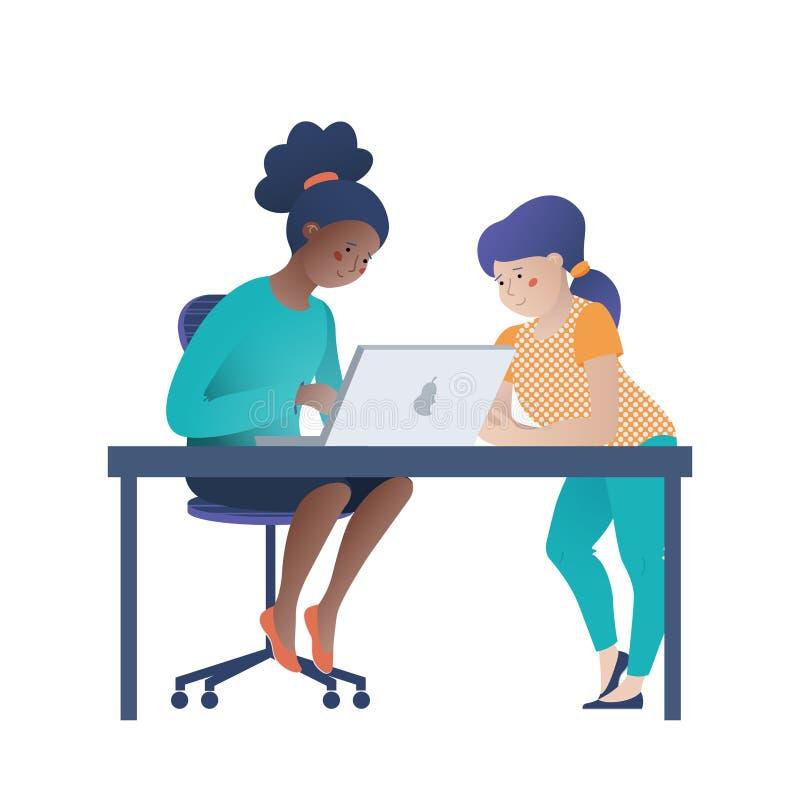 Δύο κορίτσια, μαύρη και καυκάσια εργασία στο lap-top απεικόνιση αποθεμάτων