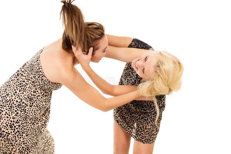 Δύο κορίτσια ορκίζονται και παλεύουν στοκ φωτογραφία με δικαίωμα ελεύθερης χρήσης