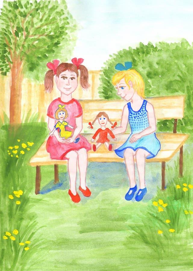 Δύο κορίτσια παίζουν με τις κούκλες στον κήπο Απεικόνιση Watercolor για τα παιδιά διανυσματική απεικόνιση