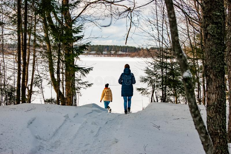 Δύο κορίτσια περπατούν μέσω του χειμερινού δάσους στη λίμνη στοκ φωτογραφία