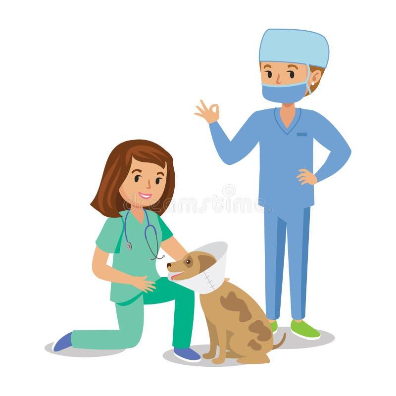 Δύο κορίτσια που θεραπεύουν το σκυλί Κορίτσια κτηνιάτρων, γιατροί κατοικίδιων ζώων χαριτωμένο κορίτσι κινούμενων σχεδίων απεικόνιση αποθεμάτων