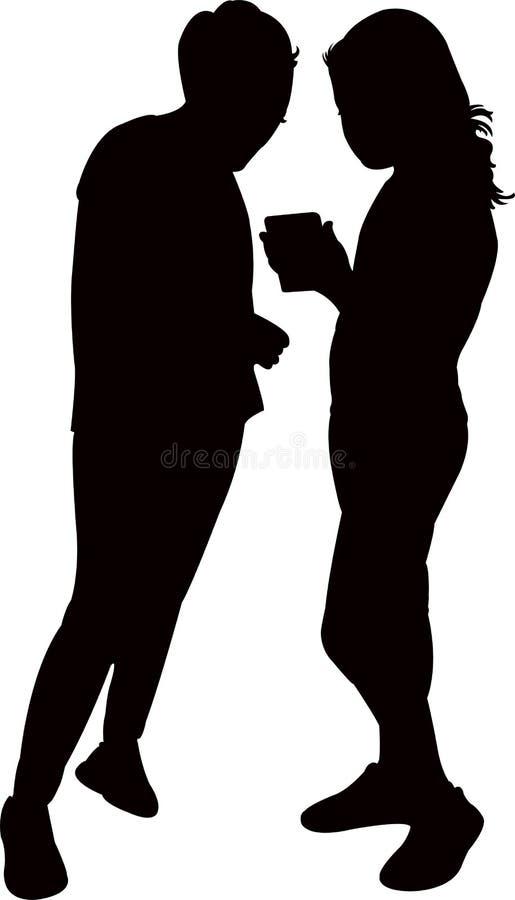Δύο κορίτσια που κάνουν τη συνομιλία, διάνυσμα σκιαγραφιών απεικόνιση αποθεμάτων