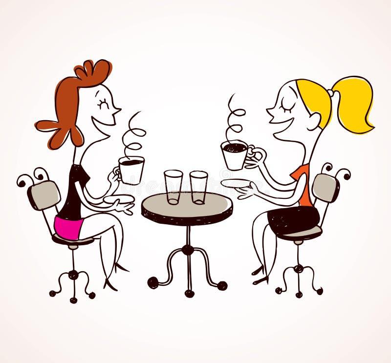 Δύο κορίτσια που πίνουν τον καφέ ελεύθερη απεικόνιση δικαιώματος