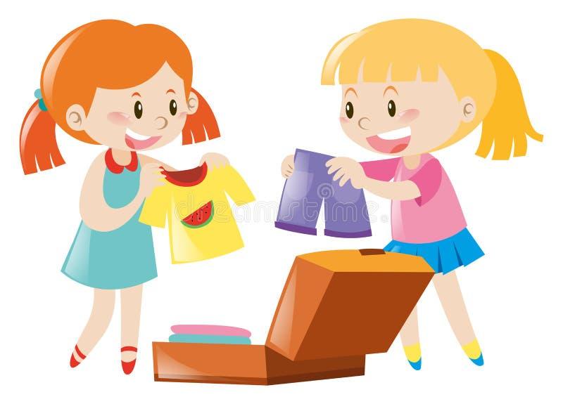 Δύο κορίτσια που συσκευάζουν τη βαλίτσα διανυσματική απεικόνιση
