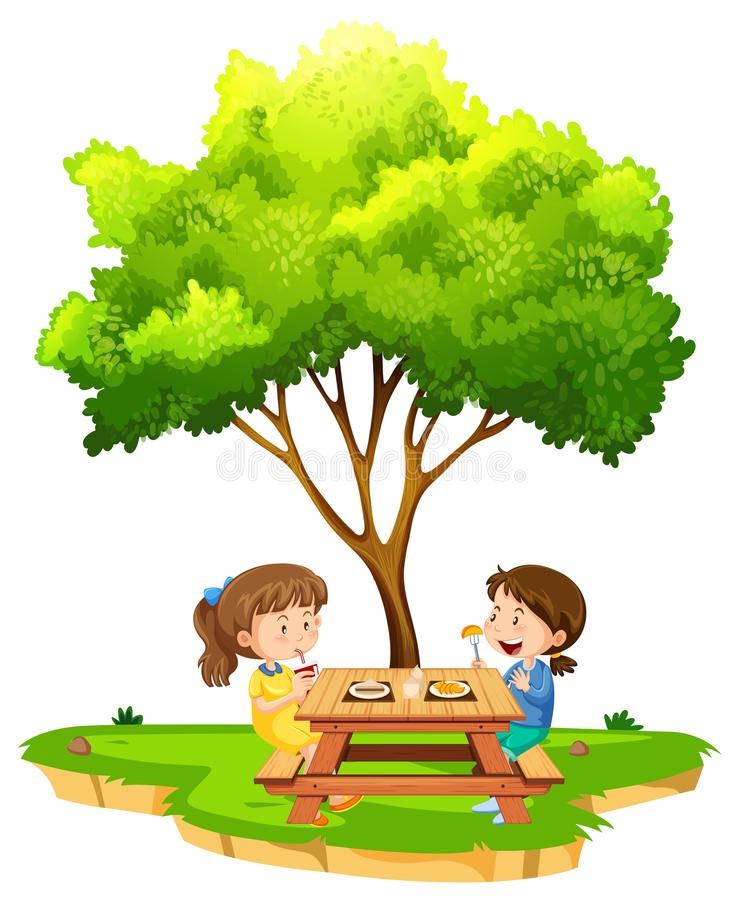 Δύο κορίτσια που τρώνε κάτω από ένα δέντρο διανυσματική απεικόνιση