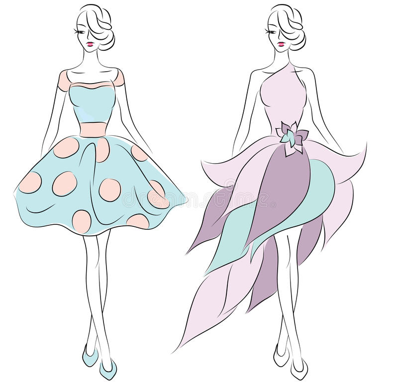 Δύο κορίτσια στη λεπτή μόδα φορεμάτων σκιαγραφούν διανυσματική απεικόνιση