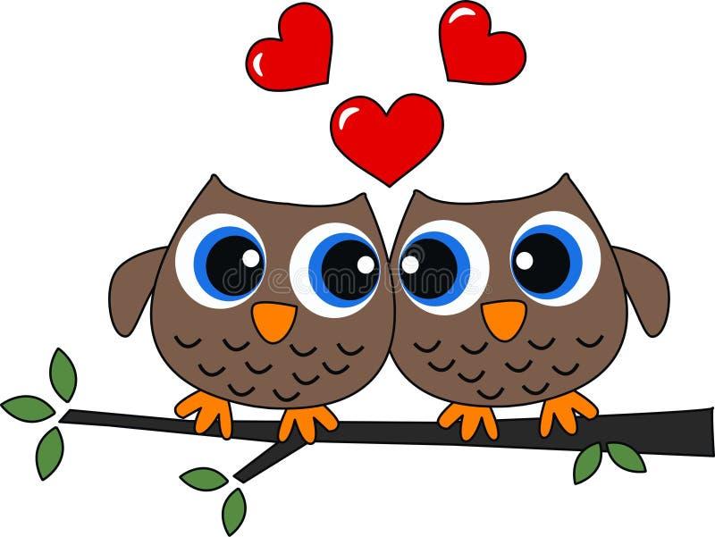Δύο κουκουβάγιες ερωτευμένες διανυσματική απεικόνιση
