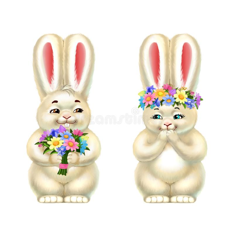 Δύο κουνέλια, με τα λουλούδια, που απομονώνονται στο λευκό απεικόνιση αποθεμάτων