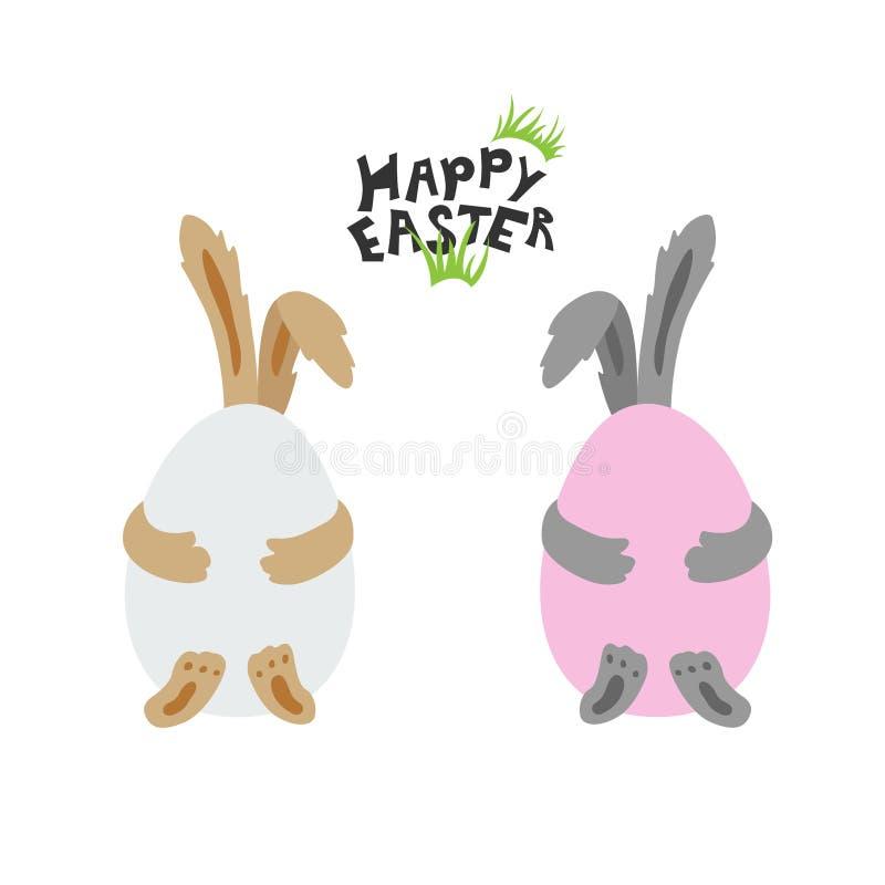 Δύο κουνέλια Πάσχας κρύβουν πίσω από τα ζωηρόχρωμα αυγά διανυσματική απεικόνιση