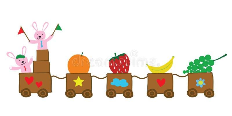 Δύο κουνέλια που κρατούν τις σημαίες με το τραίνο των φρούτων διανυσματικών για το educat ελεύθερη απεικόνιση δικαιώματος