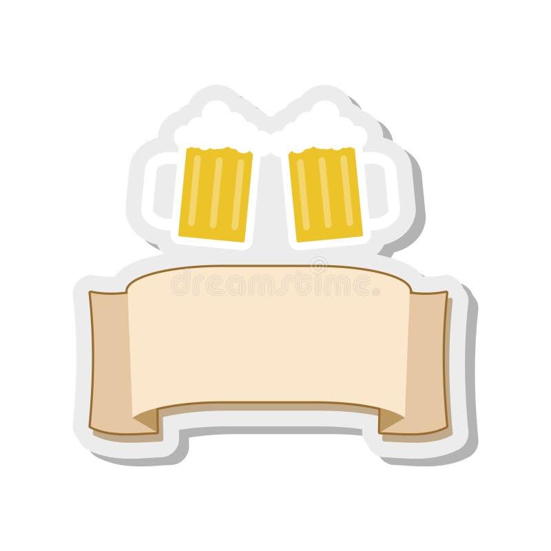 Δύο κούπες του κουδουνίσματος μπύρας, με την κορδέλλα για το κείμενο εφαρμόσιμο για την αυτοκόλλητη ετικέττα εστιατορίων επιλογών ελεύθερη απεικόνιση δικαιώματος